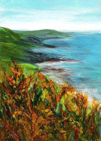 """""""3160 - GORSE AT THE OCEAN - ACEO Series"""" original fine art by Sea Dean"""