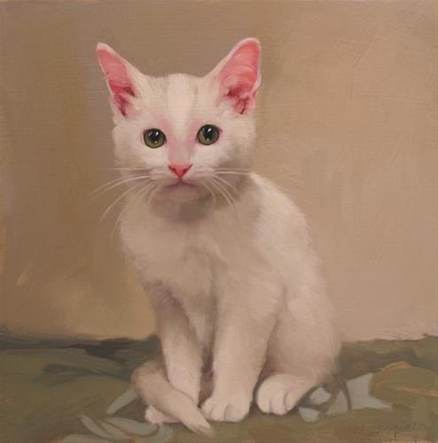 """""""White Kitten II"""" original fine art by Diane Hoeptner"""