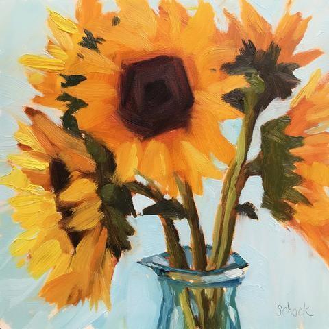 """Sunflowers II"" original fine art by Sharon Schock"