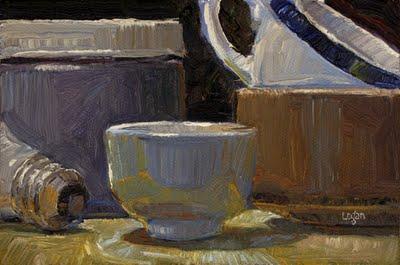 """White Tea Bowl and Stuff"" original fine art by Raymond Logan"