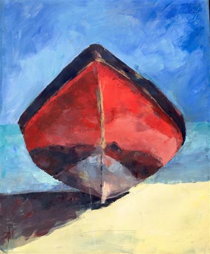 """""""Red Boat in Summer"""" original fine art by Nava Judith"""
