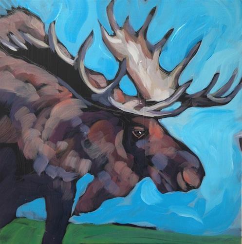 """Blue Moose"" original fine art by Kat Corrigan"