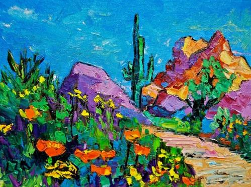 """Arizona Wildflowers"" original fine art by Liz Zornes"