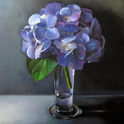 """""""Hydrangea  6x6"""" original fine art by M Collier"""