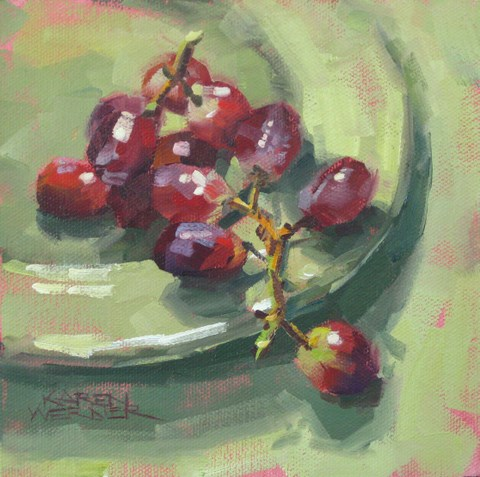 """Red Grapes Go Green"" original fine art by Karen Werner"