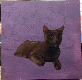 """""""Work in Progress of cat painting, a photo"""" original fine art by Diane Hoeptner"""