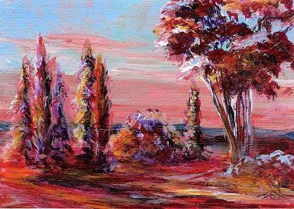 """3107 - Matted DAWN TREES ACEO"" original fine art by Sea Dean"