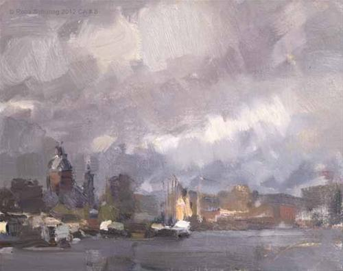 """""""Cityscape Amsterdam # 8 Rainy day Light on Central Station"""" original fine art by Roos Schuring"""