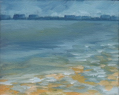 """Misty Morning, The Solent"" original fine art by J M Needham"