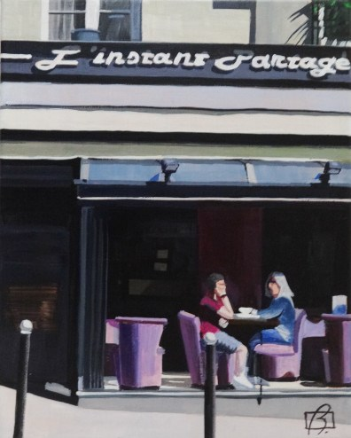 """Cafe L'Instant Partagé"" original fine art by Andre Beaulieu"