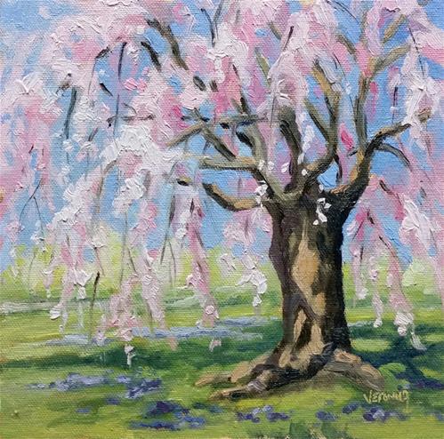 """Spring at Tower Grove-en plein air"" original fine art by Veronica Brown"