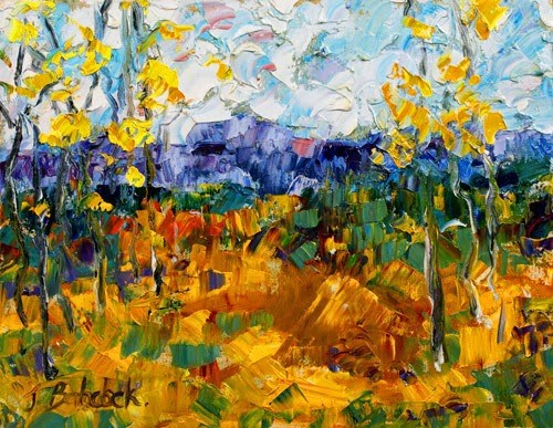 """Original Palette Knife Aspen Landscape Painting High Plains III by Colorado Impressionist Judith B"" original fine art by Judith Babcock"