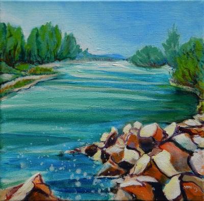 """""""Willamette River 1.2"""" original fine art by Pam Van Londen"""