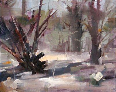 """Morning Cedars --- Sold"" original fine art by Qiang Huang"