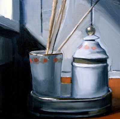 """Ceramic Set With Reeds (no.28)"" original fine art by Michael William"