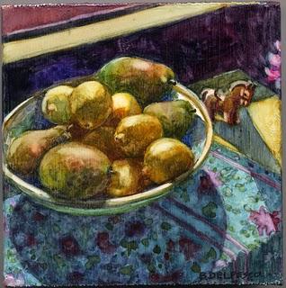 """""""Watercolor: Pears & Lemons in the Sun"""" original fine art by Belinda Del Pesco"""