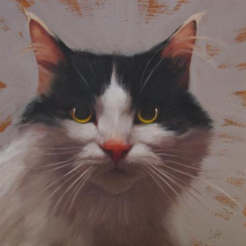 """Sam, a small cat painting"" original fine art by Diane Hoeptner"