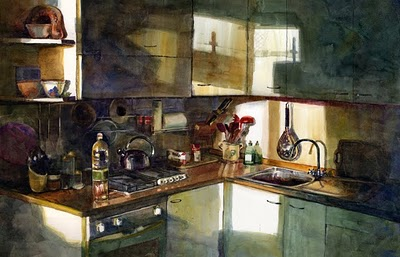 """Watercolor: Firenze Cucina"" original fine art by Belinda Del Pesco"