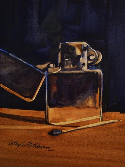 """To Zippo or Not to Zippo"" original fine art by Kathy Los-Rathburn"