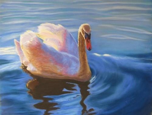 """Sunrise sailing"" original fine art by Ruth Mann"