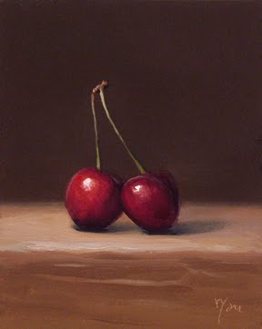 """""""Cherries No. 2 - available"""" original fine art by Abbey Ryan"""