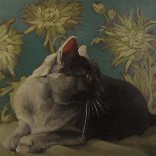 """""""Smoke on Teal gray coco kitty on pattern painting"""" original fine art by Diane Hoeptner"""