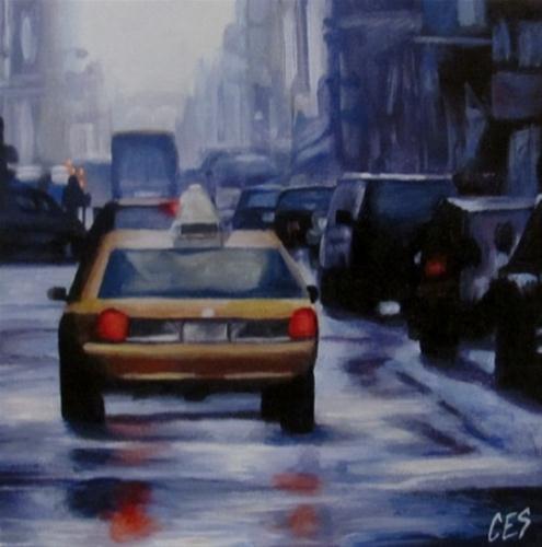 """""""Taxi On A Rainy Street"""" original fine art by ~ces~ Christine E. S. Code"""