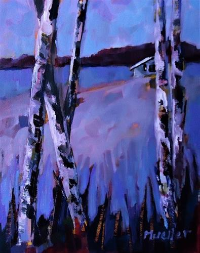 """Birch in Blue"" original fine art by Laurie Mueller"