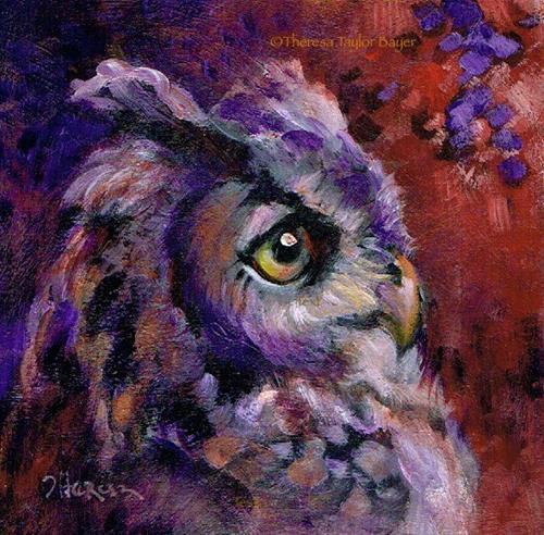 """Owl Be Around - Theresa Taylor Bayer"" original fine art by Theresa Taylor Bayer"