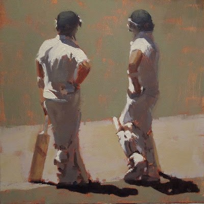 """""""BETWEEN OVERS - Cricket at the MCG"""" original fine art by Helen Cooper"""