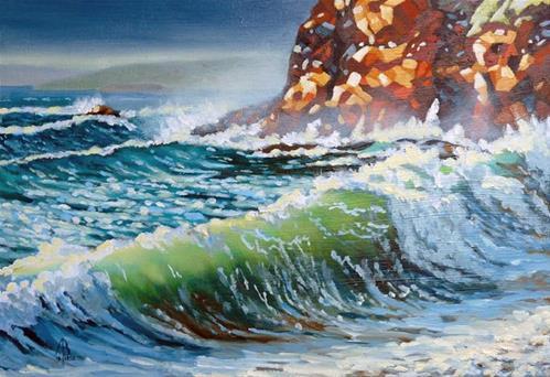 """Late autumn light on waves"" original fine art by Alix Baker PCAFAS AUA"