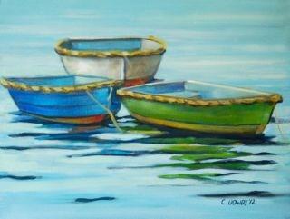 """""""Row Boats Series No. 5"""" original fine art by Christina Dowdy"""