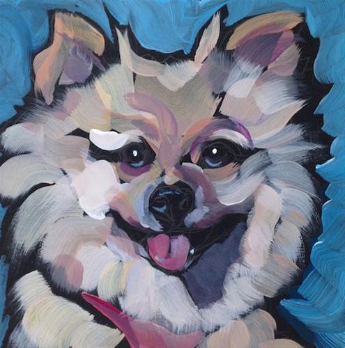 """Fluffy Face"" original fine art by Kat Corrigan"