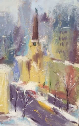 """""""Winter Plein Air in Chicago"""" original fine art by Karen Margulis"""