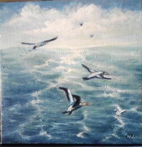 """Seascape with Ganets"" original fine art by Camille Morgan"