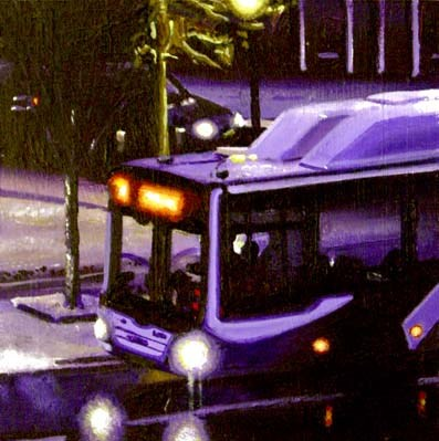 """""""Bus- City Scene Painting Of A Bus Passing By My Studio Late At Night"""" original fine art by Gerard Boersma"""