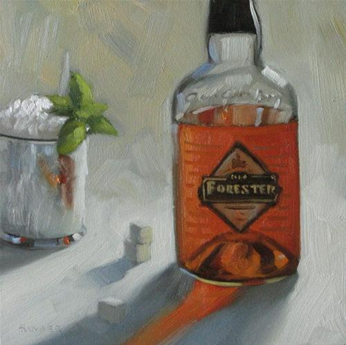 """""""Old Forester Mint Julep 6x6 oil"""" original fine art by Claudia Hammer"""