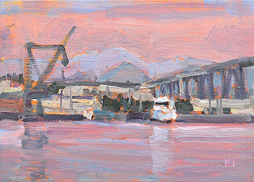 """Docks, San Diego Bay"" original fine art by Kevin Inman"