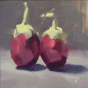 """MINI AUBERGINES"" original fine art by Helen Cooper"