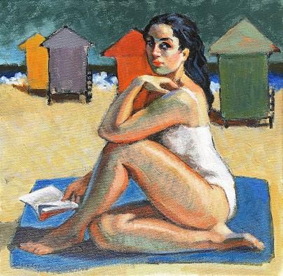 """A Good Read, woman on the beach"" original fine art by Marie Fox"