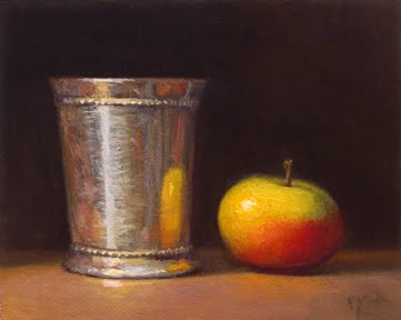 """""""Still Life with Silver Cup and Lady Apple"""" original fine art by Abbey Ryan"""