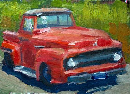 """Carol's Red Truck"" original fine art by J. Farnsworth"