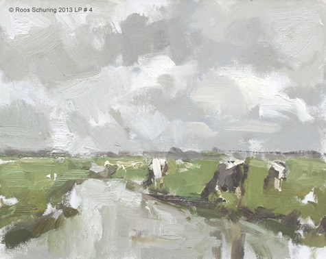 """""""Landscape spring 4 Cows and no blue (sold)"""" original fine art by Roos Schuring"""