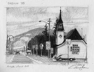 """Antonito__church, sketches,  small town"" original fine art by V.... Vaughan"