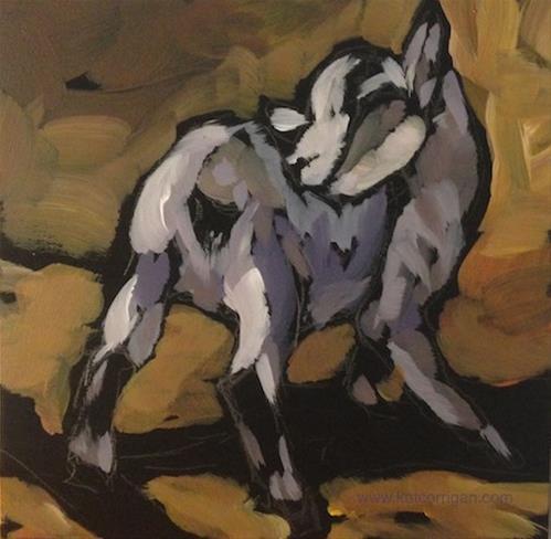 """Itchy Kid"" original fine art by Kat Corrigan"