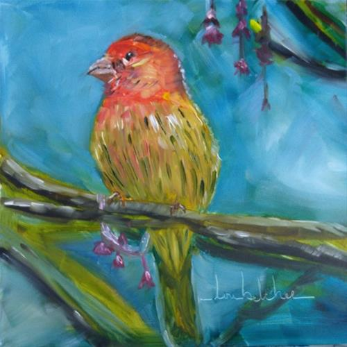 """""""House Finch"""" original fine art by Lou Belcher"""