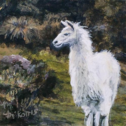 """Ecuador Memories: Alpaca"" original fine art by Michael Mikottis"