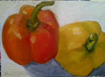 """Orange and Yellow Peppers"" original fine art by Jo Allebach"