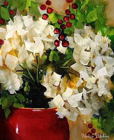"""Let It Snow White Hydrangeas - A Holiday Show and Sale by Texas Flower Artist Nancy Medina"" original fine art by Nancy Medina"