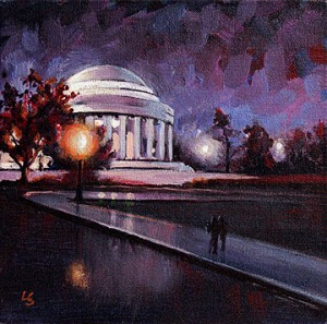 """Jefferson Memorial After Dark"" original fine art by Lesley Spanos"